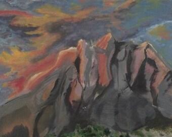 Mountains Grey / Original Art / Wall Art / Acrylic Painting / 14x11