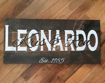 Rectangular Family Name Wood Sign