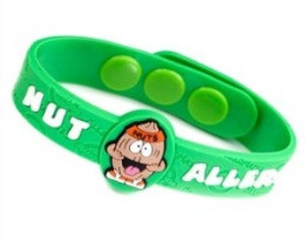 """Medical ID """"Nut Allergy"""" Kids Bracelet Fits 4 1/2 - 6 inches"""
