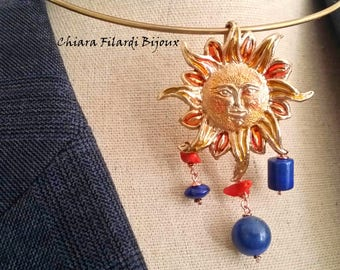Bronze with natural coral and lapis pendant, Sun