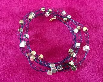 Blue wire crochet bracelet