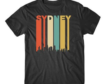 Vintage Retro 1970's Style Sydney Australia Cityscape Downtown Skyline T-Shirt