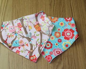 Baby Owl and Flower Cotton Baby Bandana Bib Gift Set