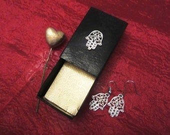 Fatima Hand Earrings into handmade box - Khmisa Hamsa Khamsa