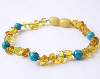 Baltic amber teething bracelet lemon amber mixed turquoise gemstone knotted bracelet for kids amber turquoise necklace or anklet gift ideas