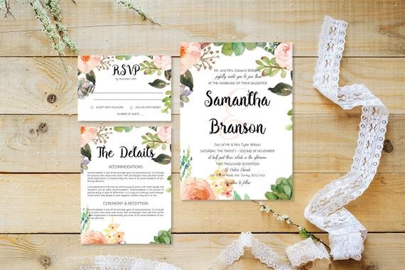 Flower wedding invite_11,Printable Wedding Invitation Suite,Wedding Invite Set,Wedding Printable,Calligraphy