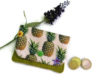 Business Card holder, Credit Card Holder, Credit card case, Headphone Holder, iPod shuffle case, mini Wallet, Minimalist Wallet - pineapple
