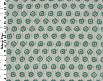 """Cream & Multi Color Floral Cotton Fabric 45"""" Wide"""
