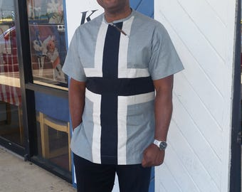 Price Reduction African Gray and White Multipurpose Mens Linen Shirt