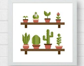 Cactus Cross Stitch Pattern/cross stitch cactus/easy cross stitch/plant cross stitch/plants cross stitch/garden cross stitch #10-002