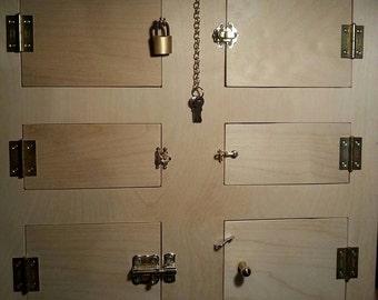 Montessori locks, Busy Board, Activity board, wood panel, locking/unlocking activity