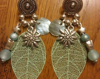 Earrings green leaves of water