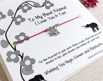 Friendship Bracelet Gift For Best Friend Bracelet Friendship Elephant Best Friends Friendship Wish Bracelet Best Friend Elephant