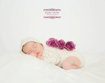 Lace Sleeve Onesie Newborn Romper with matching bonnet | newborn photography prop | long sleeved romper | Photo Prop