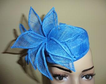 Bright Blue Pillbox Hat. Blue Hat.Wedding Hat.Ascot Race Hat. Occasion Hat.Blue Wedding Hat. Blue Race Hat. Blue Occasion Hat