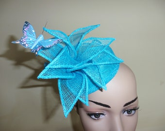 Turquoise Pillbox,Pillbox Hat,Wedding Hat,Occasion Hat,Ascot Race Hat,Fascinator,