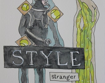 Style Stranger Love. Fine Art, Painting, Silly Art, Gift Art, Small Art, Watercolor