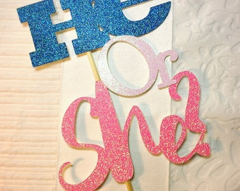 He or She? Glitter Cake Topper - Custom Blue and Pink Glitter Gender Reveal Party Decorations Boy or Girl?