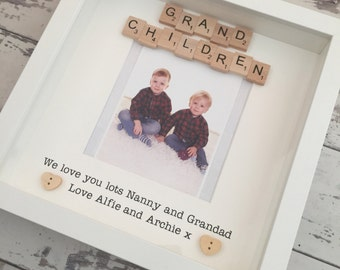Personalised Grandchildren Scrabble Frame - Gift for Grandparents or Mothers Day