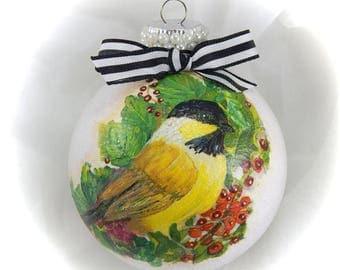 Christmas Ornament. Glass Ball Ornament. Decoupage Ornament. Chickadee Ornament. Holiday Ornament. Painted Ornament.