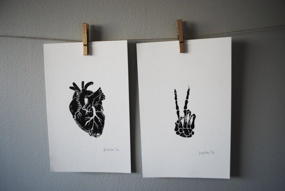 Linocut Anatomy Prints // Heart and Skeleton Peace Sign