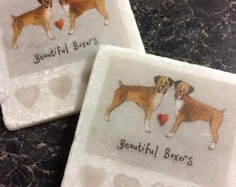 Beautiful Boxers! Set of 4 Marble Coasters