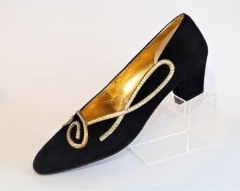 Ivory of Bond Street Black Suede Court Pump Shoes, Gold Diamante Swirl Trim  Size UK 5 1980's