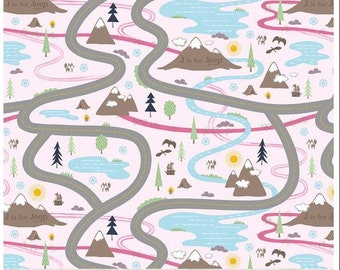 J is for Jeep by Riley Blake - Road Panel - 1 yard-wide print panel