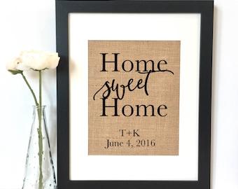 Home Sweet Home Burlap Print // Personalized Wedding Gift // Custom // Wedding