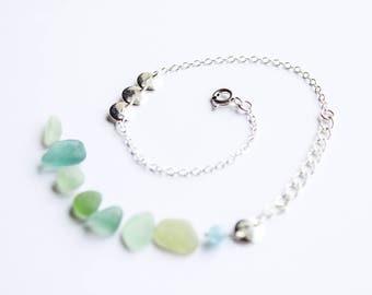 ELEN bracelet - 925 Silver - Spring/Summer 2017 (minimalist semi precious, blue stone, delicate wedding)