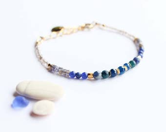 Bracelet BLEUENN - semiprecious beads - Collection spring/summer 2017 (minimalist, fine, delicate, gold agate, apatite, sodalite)