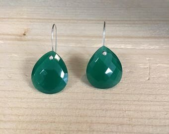 Beautiful sterling silver green onyx and smoky quartz gemstone earrings.