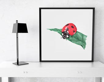 Nursery painting, insect wall art, Ladybug print, animal nursery prints, red nursery art, Kids room decor, Children's art, kids wall art