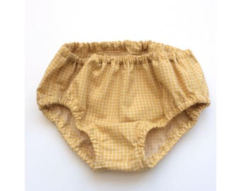 Mustard Gingham Baby Bloomers Diaper Cover