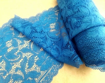 "8.5"" width, TEAL LACE, elastic lace, polyester lace, clothing accessories, undergarment, white lace, nightie, Dark teal, craft,"