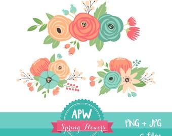Pastel Flower Clipart, floral clipart, Rose clipart, Aqua rose clipart, Beige Rose, rose clipart, Wedding floral clipart, bouquet clipart