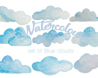 Clouds Watercolour clipart- hand painting - PNG digital instant download