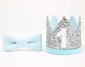 First Birthday Outfit Boy Crown | Baby Boy Birthday Party Hat | First Birthday Glitter Crown | 1st Birthday Hat | Silver + Baby Blue 1