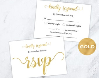 Gold Foil Wedding rsvp cards - Gold Wedding - Wedding RSVP postcards templates - Gold rsvp Printable - Downloadable wedding #WDH0131