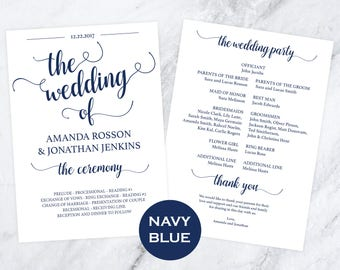 DIY Wedding Programs -  Wedding Program Template - Instant Download - Order of Service - Navy Blue Program - Downloadable Wedding #WDH812234
