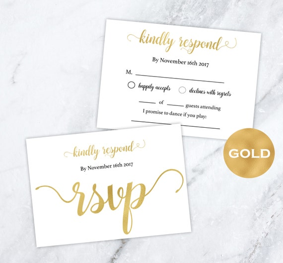 Gold foil wedding rsvp cards gold wedding wedding rsvp for Rsvp template for event