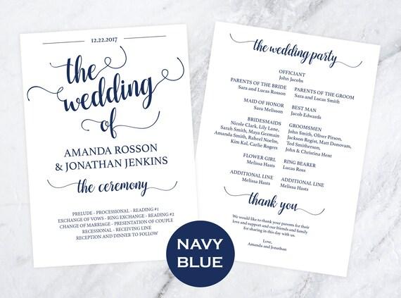 DIY wedding programs template