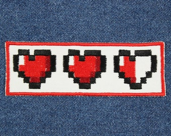 """Video Game Patch – 1.5"""" x 4"""" HP Hearts Patch – Gamer Patch – Video Game Patches – Patches for Jackets – Patches for Jeans – Nerdy Patch"""