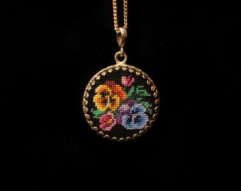 Necklace: Pansies hand embroidery pendant on vintage style. exclusive jewelry with embroidery. Petit point miniature