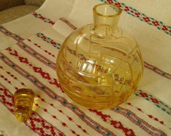 Yellow Bottle with Stopper Made in USSR. Little Decanter glass with stopper for wine, vodka or other drinks. Vintage 1970-ies.