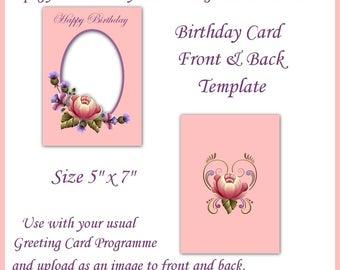 Pink Floral Birthday Card Artwork