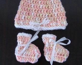 Newborn baby handmade crochet set with silk ribbon