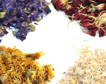 Dried Petals and Flowers - Most Colorful - 27+ Types Of Flowers! Natural, Biodegradable - Tincture, Infusion, Craft, Soap Making