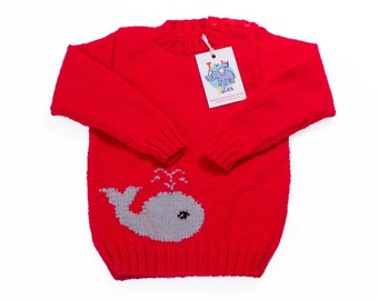 Red Sweater, Unisex Sweater, Sweater For Boys, Sweater For Girls, Whale  Sweater