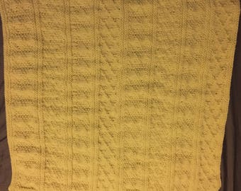 Pale Yellow Guernsey Baby Blanket